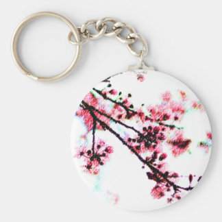 Cherry Blossom Painting Basic Round Button Key Ring