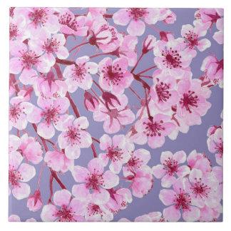 Cherry blossom pattern large square tile