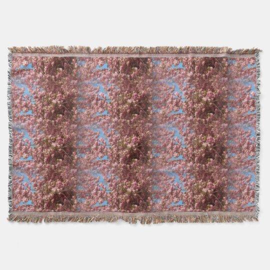 Cherry Blossom Pattern on Throw Blanket