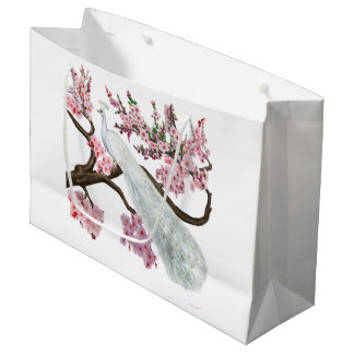 Cherry Blossom Peacock Large Gift Bag