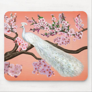 Cherry Blossom Peacock Mouse Mat