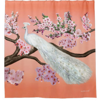 Cherry Blossom Peacock Shower Curtain