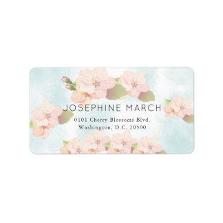 Cherry Blossom Pink Blue Watercolor Address Label