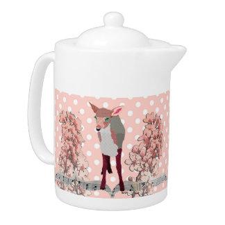 Cherry Blossom Pink Fawn Pokadot Teapot