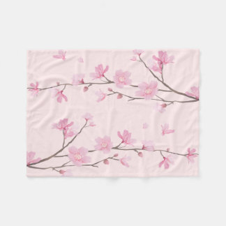 Cherry Blossom - Pink Fleece Blanket