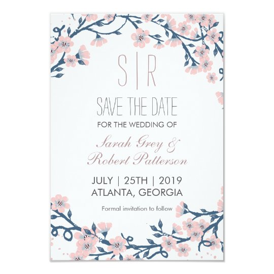 Cherry Blossom Pink Flower Wedding Save The Date