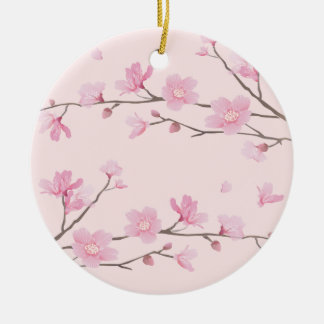 Cherry Blossom - Pink - HAPPY BIRTHDAY Christmas Ornament