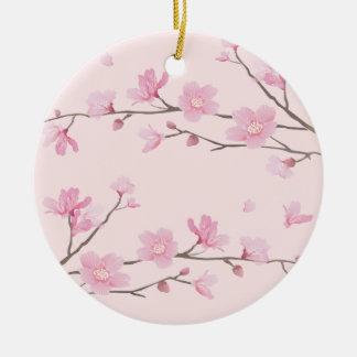 Cherry Blossom - Pink - HAPPY BIRTHDAY Round Ceramic Decoration