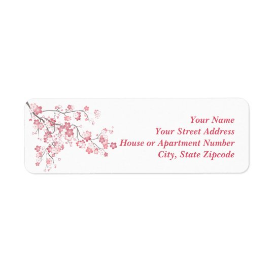 Cherry Blossom Pink Label Return Address Label