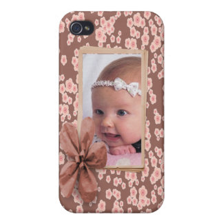 Cherry Blossom Pink Photo Frame Personalized iPhone 4 Cover