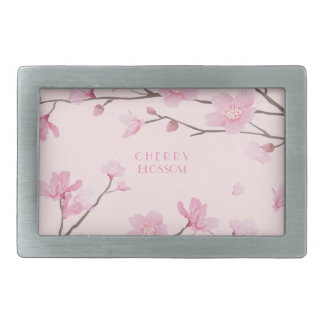 Cherry Blossom - Pink Rectangular Belt Buckle