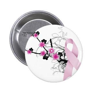Cherry Blossom Pink Ribbon 6 Cm Round Badge