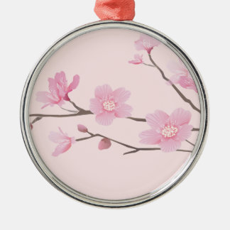 Cherry Blossom - Pink Silver-Colored Round Decoration