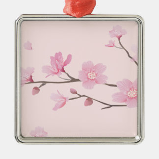 Cherry Blossom - Pink Silver-Colored Square Decoration