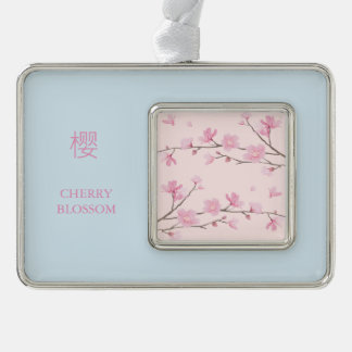 Cherry Blossom - Pink Silver Plated Framed Ornament