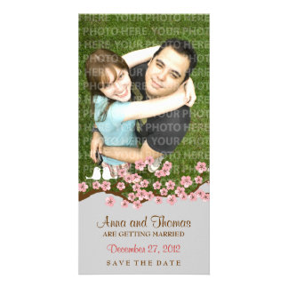 Cherry Blossom Pink Silver Save the Date Photo Card