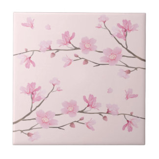 Cherry Blossom - Pink Small Square Tile
