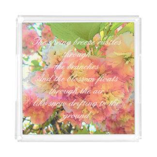 Cherry blossom poem acrylic tray