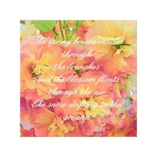 Cherry blossom poem canvas print