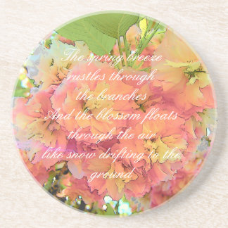 Cherry blossom poem coaster
