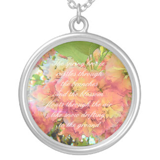 Cherry blossom poem silver plated necklace