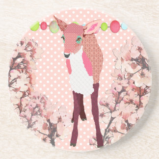 Cherry Blossom Pretty Pink Fawn Coaster