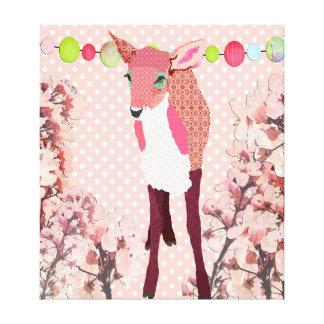 Cherry Blossom Pretty Pink Fawn Pok-a-dot Art Canvas Print