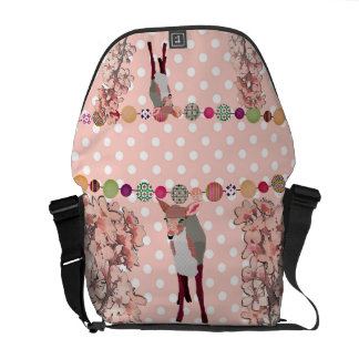 Cherry Blossom Pretty Pink Fawn Pok-a-dot Messenge Messenger Bags