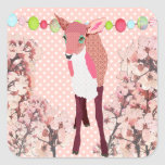 Cherry Blossom Pretty Pink Fawn Square Stickers