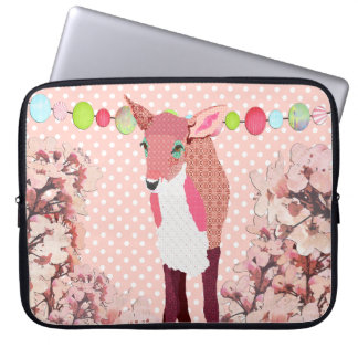 Cherry Blossom Pretty Pink Pok-a-dot Fawn Computer Laptop Sleeve