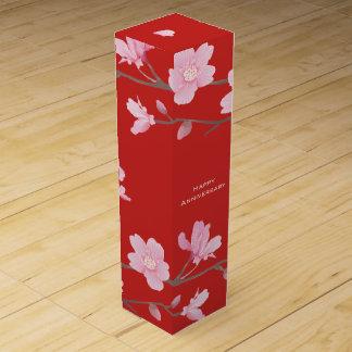 Cherry Blossom-Red-Happy Anniversary Wine Gift Box