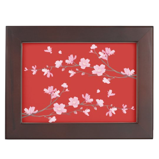Cherry Blossom - Red Keepsake Box
