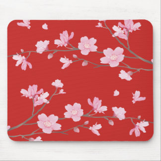 Cherry Blossom - Red Mouse Mat