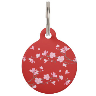 Cherry Blossom - Red Pet Name Tag