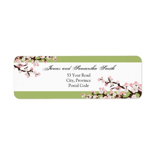 Cherry Blossom Return Address Label - Sage Green