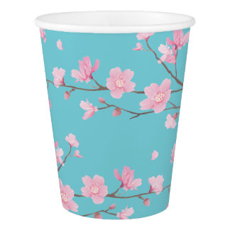 Cherry Blossom - Robin Egg Blue Paper Cup