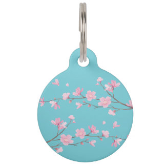 Cherry Blossom - Robin Egg Blue Pet ID Tags