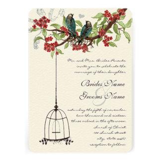 Cherry Blossom Romantic Birds Birdcage Weddings Personalized Invitation