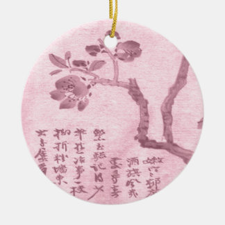 Cherry Blossom Round Ceramic Decoration