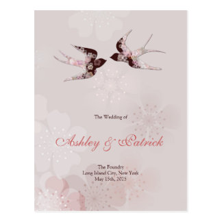 Cherry Blossom Sakura and Floral Swallows2 Program Postcard