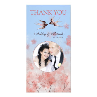 Cherry Blossom Sakura Love Birds Thank You Photo Personalized Photo Card