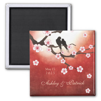 Cherry Blossom Sakura & Love Birds Wedding Magnet