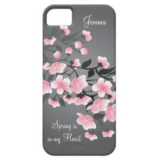 Cherry blossom (Sakura) on gray iPhone 5 Case