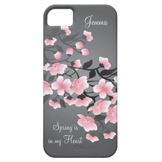 Cherry blossom (Sakura) on grey iPhone 5 Cover