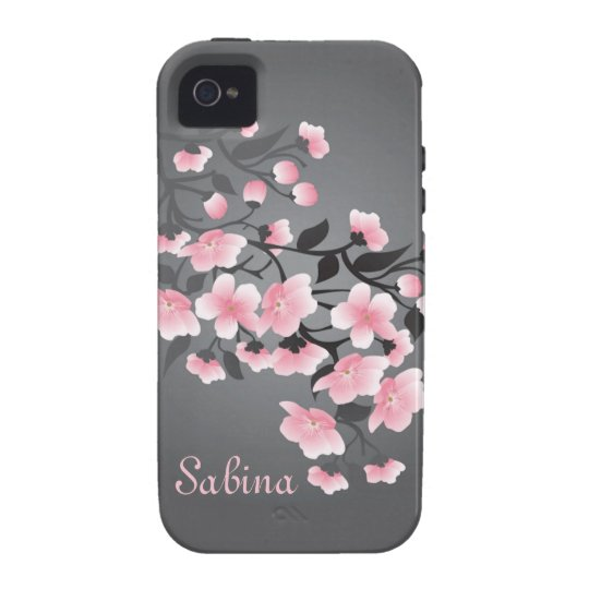 Cherry blossom (Sakura) on grey Vibe iPhone 4 Case