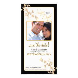 Cherry Blossom Save the Date Photocard (gold/black Card