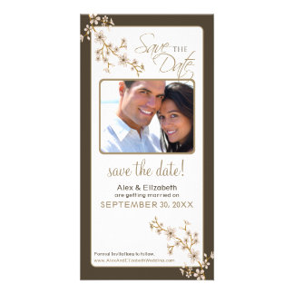 Cherry Blossom Save the Date Photocard (taupe) Card