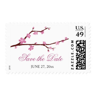 Cherry Blossom Save The Date Postage Stamps