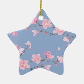 Cherry Blossom - Serenity Blue Christmas Ornament