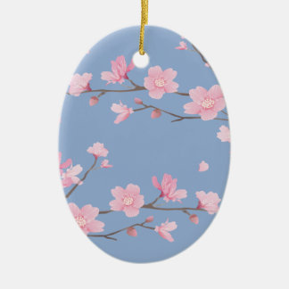 Cherry Blossom - Serenity Blue Christmas Ornament